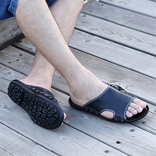 Zapatillas de o Escena Libre para Sandalias Playa Cuero Cualquier Negro Playa de la Antideslizantes Vaca Genuino al Aire Ocasionales de Perfectas de Zapatillas la Suela de Hombres los 1EqrFwgx1