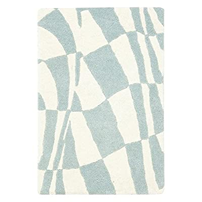 Safavieh Soho Collection SOH763A Handmade Abstract Checkered Blue and Ivory Premium Wool Area Rug