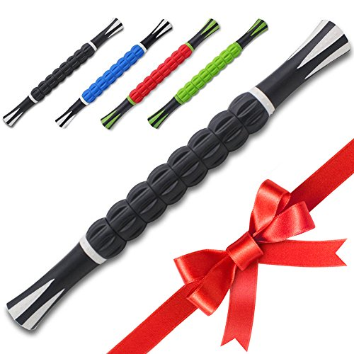 Massage Stick | Massage Roller Stick | Muscle Roller Stick by YogoFit | Durable Massage Roller Back Massage Stick With Anti Slip Handles | For Back Pain Relief, Sore Neck, Tight Back | Black