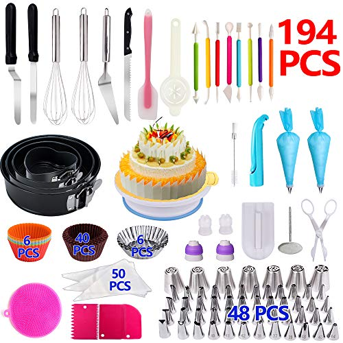 Cake Decorating Supplies,194 PCS Complete Baking Set with 4 Packs Springform Pan Sets,136 PCS Decorating Kits and 6 Muffin Cup Molds, Perfect Cake Baking Supplies for Beginners and Cake Lovers. (Baking Supply)