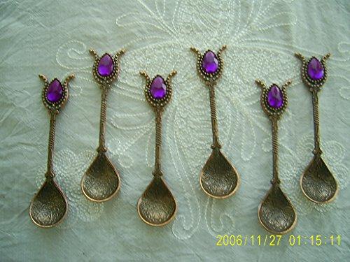 Handmade Turkish Ottoman Category Copper Teaspoons for Coffee Tea Sugar 6 pcs -- Gold / Purple