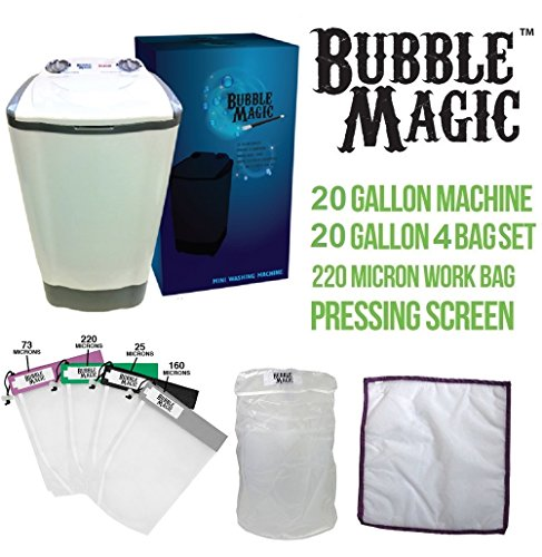 20 Gallon Bubble Magic Washing Machine + All Mesh Extraction 4 Bag Kit