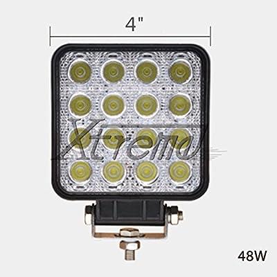 """Xtreme® 2 Pack 4"""" Inch 48Watt High Power LED Work Lamp Offroad Light for Truck, 4WD, Atv, Utv, Bike, Motorcycle (48w Cube, Flood Light)"""