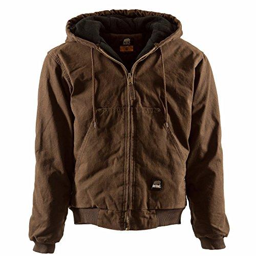 (Berne Mens Lined Original Washed Hooded Jacket Bark (BARK 6X-T))