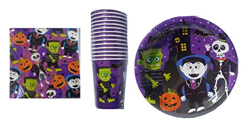 Little Monsters Halloween Paper Plates, Napkins and Cups (Monsters Little Tableware)