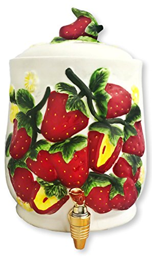Tuscany Strawberry Shaped Hand Painted Ceramic Collection by ACK (Beverage Dispenser) ()