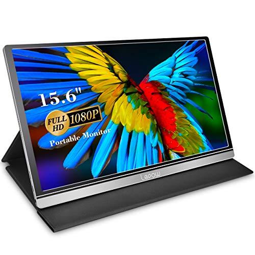 Monitor portátil - Lepow Z1-Gamut (2021) 15.6 pulgadas FHD 1080P Pantalla de computadora de alta gama de colores Pantalla USB C Eye Care con altavoces HDMI Tipo-C para computadora portátil Teléfono MAC Xbox PS4 Incluye cubierta inteligente