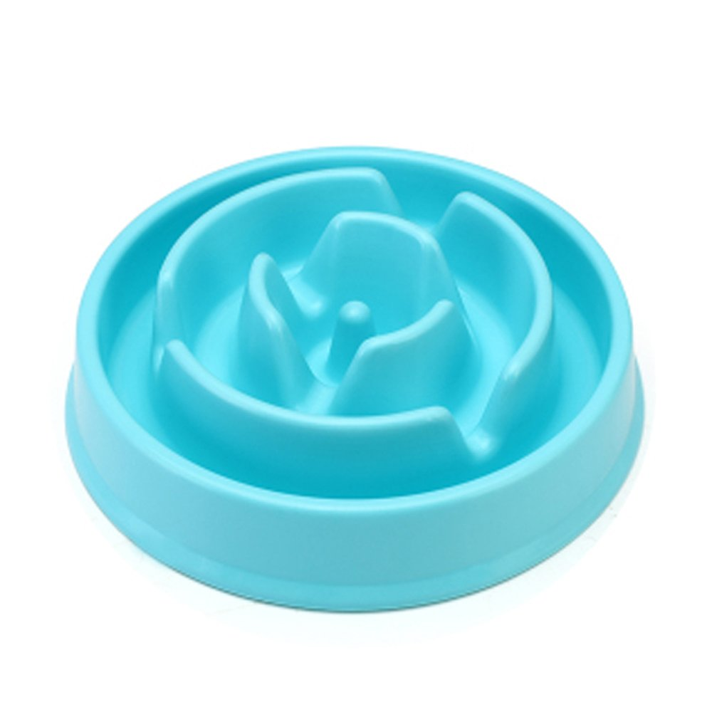 SILD Interactive Puzzle Nonskid Dog Food Bowl to Slow Down Eating Slow Feed Dog Bowl The Weight Loss Pet Bowl (Blue B)