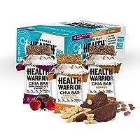 Health Warrior Chia Bars, Chocolate Variety Pack, 3 Flavors, 100 Calories, 1060mg Omega-3s, 5g Sugar, 4g Fiber, Gluten Free, Vegan, 15 count, Net Wt. 13.2 Oz