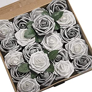 Ling's moment Artificial Flowers Roses 25pcs Real Looking Shimmer Silver Grey Fake Roses w/Stem for DIY Christmas Tree Xmas Wedding Party Centerpieces Arrangements Party Decor 10