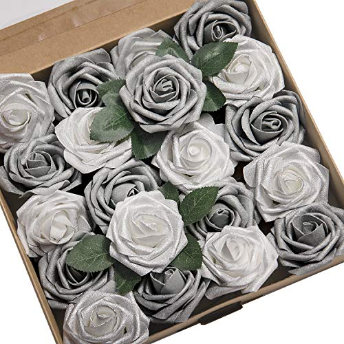 Ling's moment Artificial Flowers Roses 50pcs Real Looking Shimmer Silver Grey Fake Roses w/Stem for DIY Christmas Tree Xmas Wedding Party Centerpieces Arrangements Party Decor]()