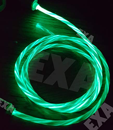 Visible Light Up Type C Cable USB Fast Charger LED Flowing Charging Cable Charging Cord for Samsung Galaxy S9 S8 Note 8,Pixel,LG V30 G6 G5 (Green)