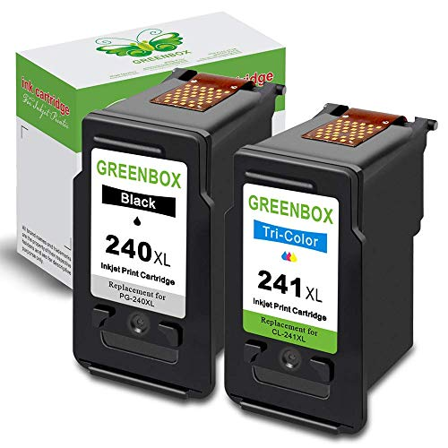 GREENBOX Remanufactured Ink Cartridge Replacement for Canon PG-240XL 240 XL CL-241XL 241 XL High Yield (1 Black 1 Tri-Color) Used in Canon PIXMA MG3620 MX472 MX452 MG3220 MX432 MX532 MG3520 MX512 (Pg 240 Black Cartridge Cl 241 Color Cartridge)