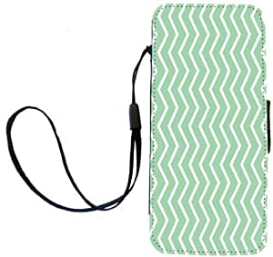 Rikki Knight Mint Green Zig Zag Stripes Flip Wallet Case with Magnetic Flap for Apple iPhone 5 and 5s by runtopwell