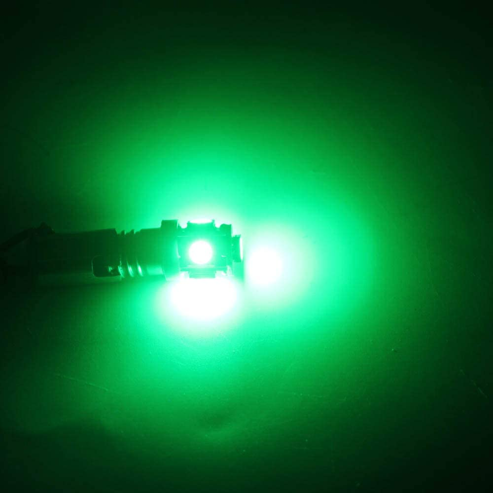 Pack of 10 QasimLED 12V DC E10 5050 5 SMD Dome Lights Screw Led Bulb Torch Bike Bicycle Light for car Reverse Reading Lamps Car Styling Green Color