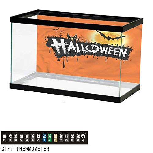 bybyhome Fish Tank Backdrop Halloween,Spooky Party Bats Festive,Aquarium Background,30