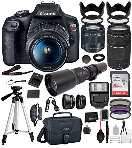 Canon EOS Rebel T7 Digital SLR Camera with EF-S 18-55mm IS II (2727C00 USA), Canon EF 75-300mm Lens and 500mm PRESET Lens with T-Mount Adapter and 22PC Professional Bundle (Best 500mm Lens For Canon)