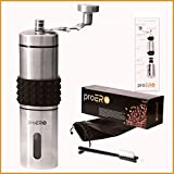 proERO Manual Coffee Grinder – Stainless Steel Coffee Hand Mill with Conical Ceramic Burr, Built-in Grind Selector with 18 Click Settings and Sealed Window for French Press, Turkish, Handheld Mini, K Review