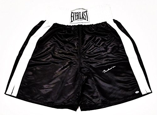 (AUTOGRAPHED Muhammad Ali Boxing Super Star Signed Black & White Everlast Regulation Boxing Shorts/Trunks with COA)