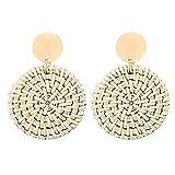 Toponly Rattan Earrings for Women Handmade Straw Wicker Braid Drop Dangle Earrings Lightweight Geometric Statement Earrings