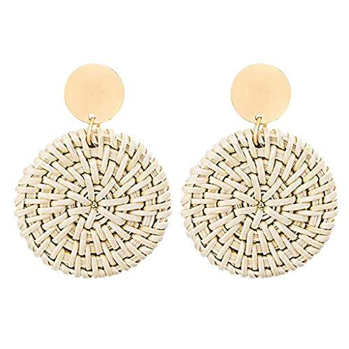 XBKPLO Earrings for Women's Fashion Dangling Temperament Elegant Handmade Prepared by Rattan Round Earrings Alloy Lady Jewelry Gifts
