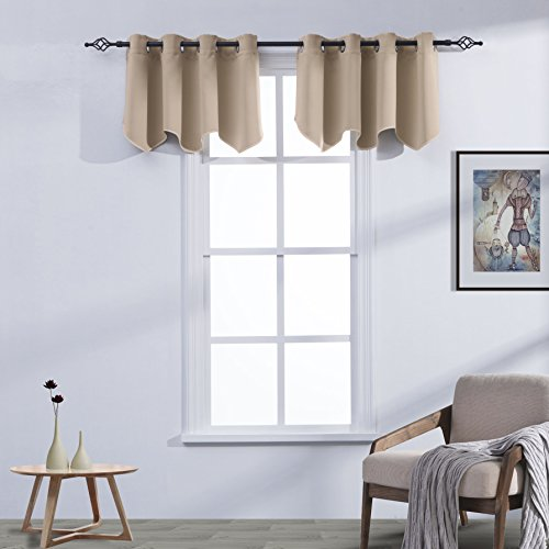 Aquazolax Window Treatments Blackout Scalloped Valances Solid Decorative Curtain Valance with Grommets Top, 52inch by 18inch, Taupe/Khaki, 1 (Khaki Valance)