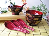 4 Lacquer Rice Miso Soup Bowls Golden Fan + 4 Spoons Red/blk NEW