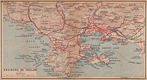 TOULON environs. Six-Fours Sanary La Seyne St Mandrier-sur-Mer. Var - 1925 - old map - antique map - vintage map - Var maps
