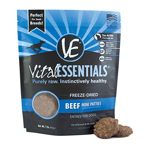 - Vital Essentials Freeze-Dried Beef Mini Patties Grain Free Limited Ingredient Dog Entrée, 1 Pound Bag