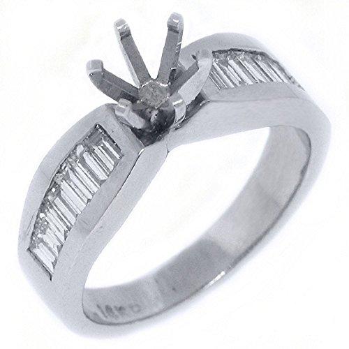 - 14k White Gold Baguette Cut Diamond Engagement Ring Semi Mount.70 Carats