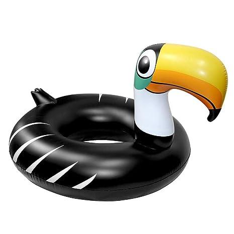 Sucastle Flotador Inflable para Piscina con Forma de Tucán Negro, con para Adultos niños Playa