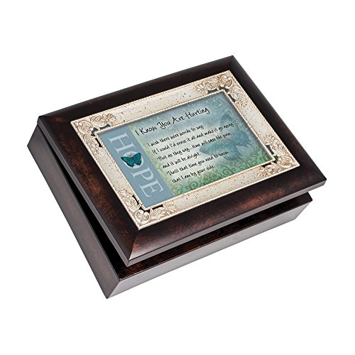 Cottage Garden I Know You are Hurting Burlwood Jewelry Music Box Plays Emperor's Waltz