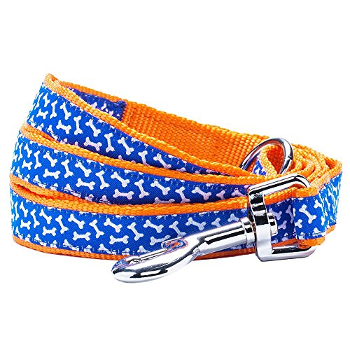 "Blueberry Pet Leashes for Dogs,  5 ft x 5/8"", Small,  Iris Blue Yummy Bone Print Dog Leash in Orange, Matching Collar Available Separately"