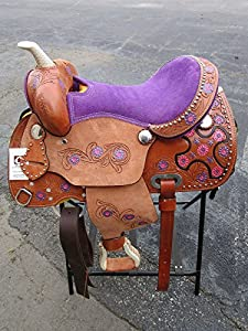 12 13 Purple Pink Pony Kids Child Youth Children Kid Mini Barrel Racing Trail Pleasure Leather Western Horse Saddle Tack