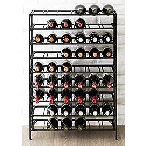 54 Bottle Connoisseurs Deluxe Large Foldable Black Metal Wine Rack Cellar Storage Organizer Display Stand