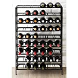 54 Bottle Connoisseurs Deluxe Large Foldable Black Metal Wine Rack Cellar Storage Organizer Display Stand For Sale