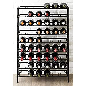 Deluxe Large Foldable Black Metal Wine Rack Cellar Storage Organizer Display Stand