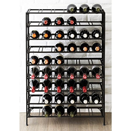 54 Bottle Connoisseurs Deluxe Large Foldable Black Metal Wine Rack Cellar Storage Organizer Display Stand by MyGift