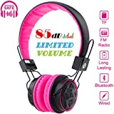 Kids Bluetooth Volume Limiting Headphones Wireless/Wired Toddler Foldable On-Ear Headset Earphones with AUX 3.5mm Jack,Mirco SD Card Slot,FM Radio for Children Boys Girls PC Tablet Cellphone(Pink)