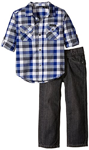 Calvin Klein Little Boys' Woven Plaid Shirt and Pant Set, Blue, 5