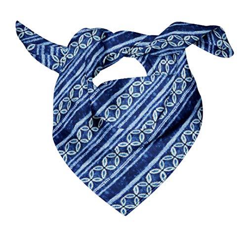 Bimba Blue Floral Shibori Printed Pure Silk Scarf Neck Wrap Summer Hair Bandanas For Women 40 x 40 Inches