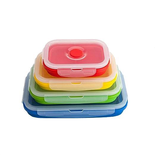 Recipientes de almacenamiento de alimentos de silicona, juego de 4 ...