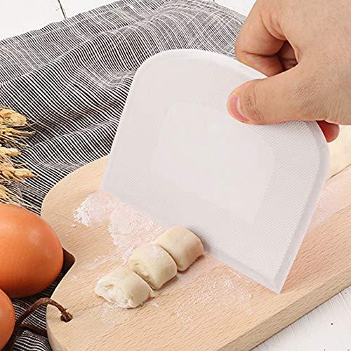 Dough Scraper Bowl Scraper Food-safe Plastic Dough Cutter Flexible Plastic Scraper Bench Scraper Tool Kitchen Jagged Edges Scraper Multipurpose Food Scrappers for Bread Dough Cake Fondant Icing 5PCS