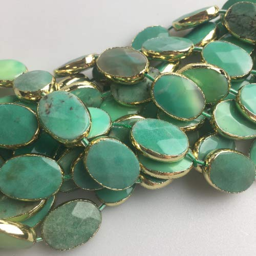 - Bead Jewelry Making Chrysoprase Oval Gemstone Beads with Gold Plated Edges 13x18mm Approx 8'' Long