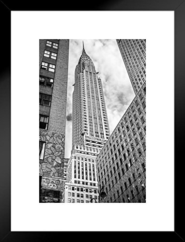 Poster Foundry Looking up at The Chrysler Building New York City Photo Art Print Matted Framed Wall Art 20x26 inch