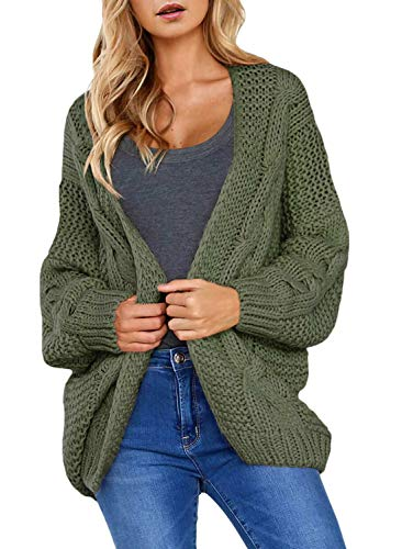 Dearlove Womens Juniors Cute Cardigan Sweaters Long Sleeve Open Front Chunky Knit Autumn Warm Outwear Coat Green S