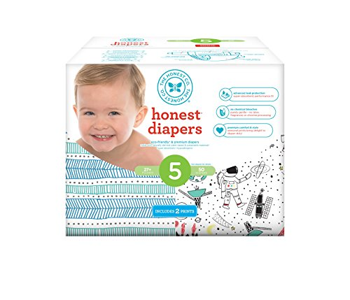 Honest Baby Diapers, Club Box, Teal Tribal & Space Travel, Size 5, 50 Count