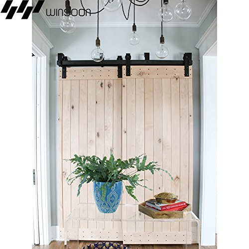 WINSOON New Bending Room Wall Mount Bypass Double Black Sliding Wood Door Roller Hardware Track Pulley Folding Steel Kit (6FT / Two Door ()