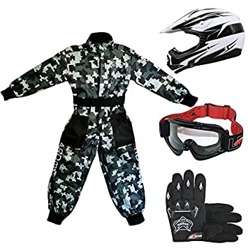 /& Goggles 51-52cm Children Kids Motorbike Race Suit M 7-8Yrs Leopard LEO-X17 Red Kids Motocross Helmet M 6cm /& Gloves M