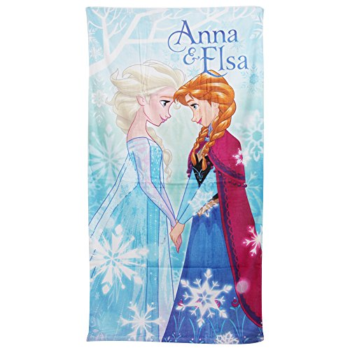 (Disney Frozen Childrens Girls Anna & Elsa Printed Beach Towel (28in x 56in) (Turquoise))